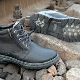 Зимние мужские ботинки Классика -комфорт, толстая кожа, две молнии и теплый мех.