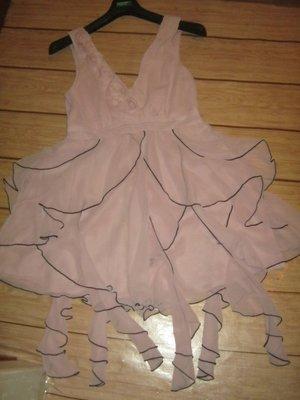 Лёгкое, нежное, шифоновое,многослойное платье пудрового цвета с висюльками. М- L, 46-48