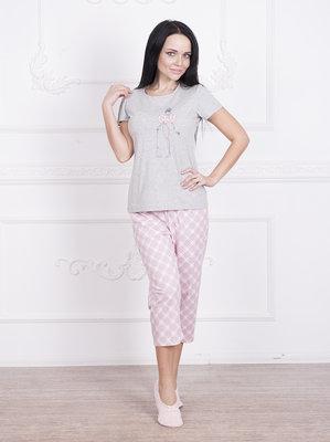 Пижама женская бриджы в клетку футболка , 44-52р. Тм Роксана 595