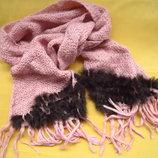 Фирменный нежный шарф с натуральным мехом