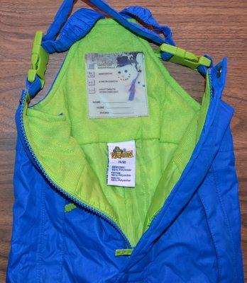 Зимний термо полукомбинезон, штаны на подтяжках р. 74 - 80см