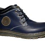 Синие натуральные кожаные ботинки