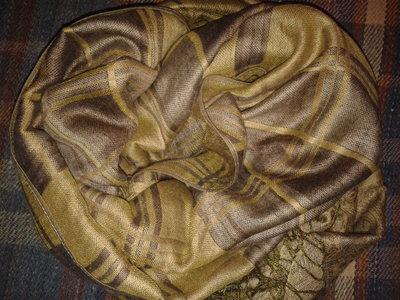 Шарф-Палантин клетка орнамент, 180 см х 67 см