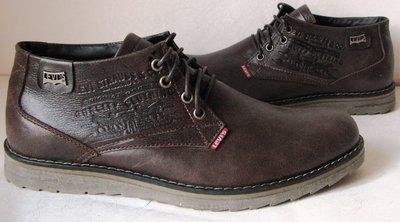 Levis зимние коричевые стильные кожаные мужские ботинки