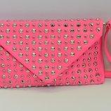 сумка конферт заклепки розовая
