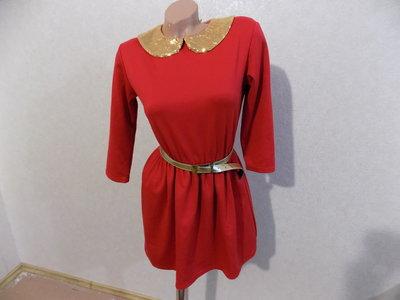 Платье красное с воротником с паетками размер 44-46