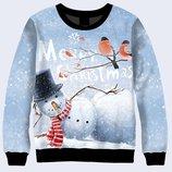 3D свитшот Рождественский Снеговик