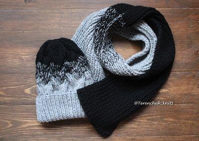 вязаная шапочка косами и шарф ручной работы градиент 1180 грн