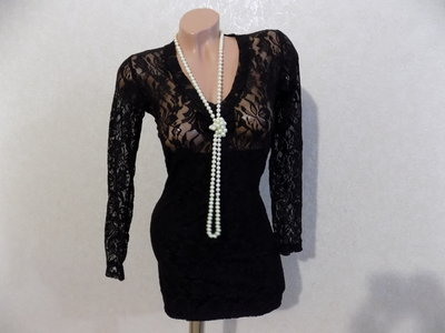 Платье гипюровое черное размер 42-44