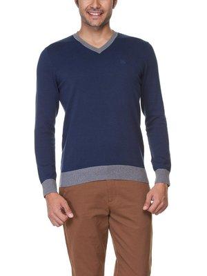 мужской синий свитер LC Waikiki с логотипом и V-образной горловиной