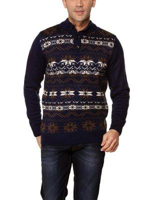 мужской синий свитер LC Waikiki с цветным узором