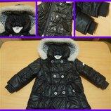 Дутая демисезонная курточка - пальто 1-2 года носили с 9мес до 2, 5. Капюшон отстегивается