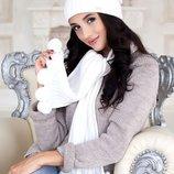 Комплект шапка шарф с бубонами полушерсть цвет белоснежный монблан брекстон