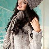 Комплект шапка шарф полушерсть цвет темный кофе