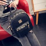 Женский городской рюкзак с заклепками и плетением В Наличии