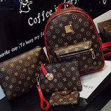 Подарочный набор LV для модных девушек Рюкзак, клатч, косметичка, визитница В Наличии