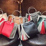 Двухцветная сумочка с ручками-кольцами и мини клатчем В Наличии