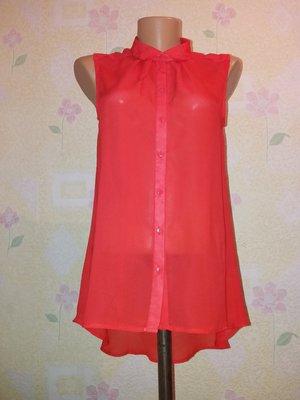 Красная блуза с асимметричной спинкой xs-s