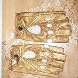перчатки золото кожа