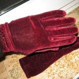 перчатки бордовые и сирень цена за 2 пары