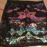 Стильная гламурная мини юбка расшитая цветными паетками. Новая. XS-S, 42-44.