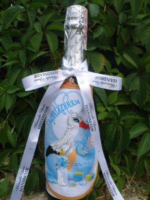 Украшение бутылки / фартучек передник ручная вышивка