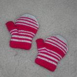 Теплые двойные рукавички на девочку 6-12 месяцев