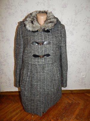New Look пальто для беременных 38% шерсть стильное модное р12 с мехом