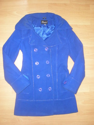 Синее пальто демисезон 44р