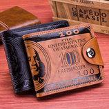 Кожаное портмоне 100 долларов на магнитной кнопке