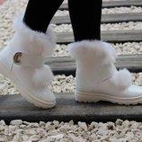 Женские зимние белые ботинки