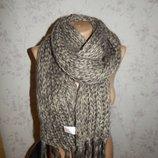 50% шерсть Лаконичный вязаный теплый женский шарф c кисточками.