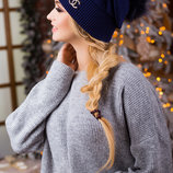 Красивая качественная полушерстянная,50%шерсти,зимняя шапка Long Way,на флисовой подкладке,с бубоном