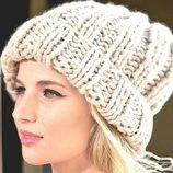 Объемная и теплая шапочка крупной вязки м