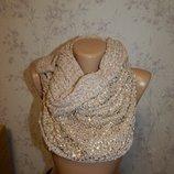 Актуальный шарф, хомут, снуд женский. Нарядный, с золотом.