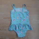 купальник 4-5 л голубой детский девочке бабочки