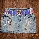 Стильная джинсовая юбка с поясом. Обмен