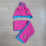 шапка шарф 1-3 г. набор розовый голубой флис очень теплый
