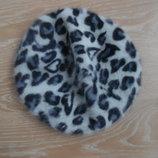 шапка берет женская леопард ангора
