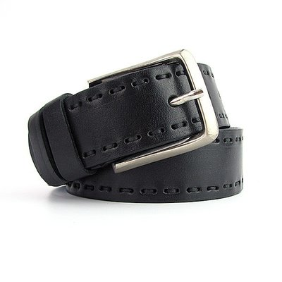 Ремень кожаный мужской под джинсы черный Bond 4046 Турция
