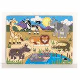 Melissa&Doug деревянная рамка-вкладыш пазл дикие животные. Америка