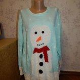Новогодний женский свитер, неординарный, запоминающийся, модный, рр 22-24, большой размер