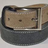 Ремень кожаный мужской серый замш Bond 4548-1309 Турция
