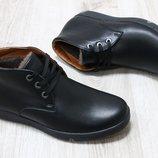 Мужские зимние ботинки кожа и замша