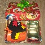 Подарочный набор Новогодний чашка подставка под чашку чай в подарочной коробке