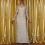 Шикарное вечернее кружевное платье в пол р.44