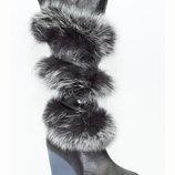 сапоги натуральные кожаные с мехом песца не дорого ст 23.5 внурти шерсть кожа