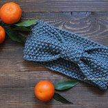 Женская вязаная повязка на голову ручной работы шерсть