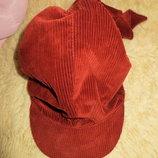 Красивая вельветовая теплая шапка-бандана.