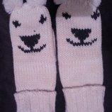 Веселые вязаные варежки -рукавички